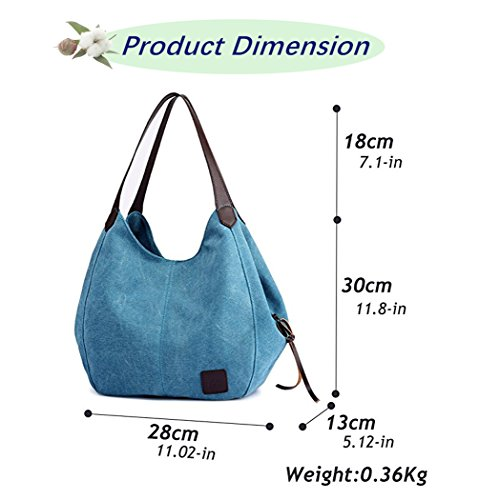 KAMIERFA Canvas Cotton Hobo Bags Traveling Blue Tote Shoulder for Pockets Bags Multi for Bags with Shopping Women rrdwf4q