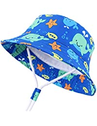 1177dbc499956 Sun Protection Hat for Kids Toddler Boys Girls Wide Brim Summer Play Hat  Cotton Baby Bucket