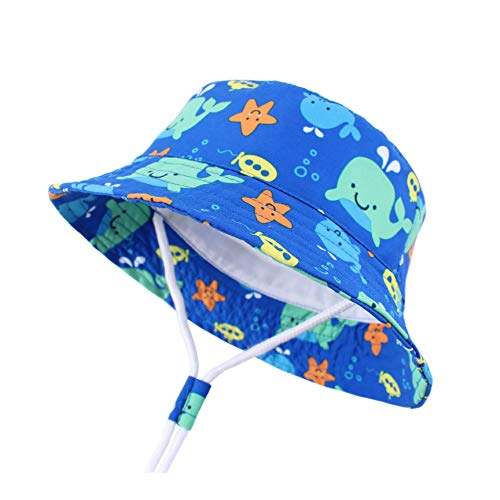 Sun Protection Hat for Kids Toddler Boys Girls Wide Brim Summer Play Hat Cotton Baby Bucket Hat with Chin Strap (Blue-Whale, M: 1T-2T (50cm /19.7