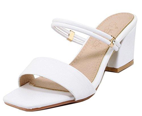 à Enfiler Blanc Bout Fermeture Simple Sandales Easemax Mules Ouvert Femme wqt611