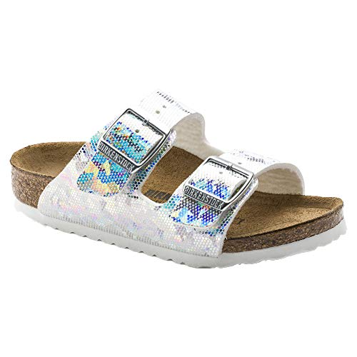 (Birkenstock Arizona Birko-Flo Hologram Silver Birko-flor Sandals - 31 Narrow EU )