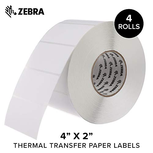 Zebra - 4 x 2 in Thermal Transfer Paper Labels, Z-Perform 2000T Permanent Adhesive Shipping Labels, Zebra Industrial Printer Compatible, 3 in Core - 4 Rolls