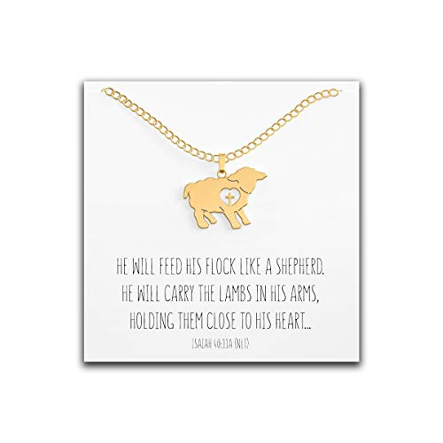 Happy Kisses Lamb Necklace with Cross Over Heart – First Communion Gift for Girls – Cute Charm with Message Card – Adjustable Chain 18 to 15 Inches for Women & ()