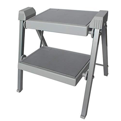 XNLIFE Simple 2 Steps Ladder Portable Folding Stool Kitchen Climb Stepladder for Kids Children Home Bathroom Wash Step Stool Non-Slip, Support 150 Kg for Kitchen Or Bar (Color : Gray)