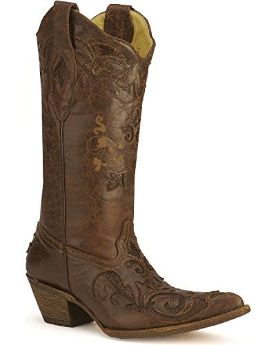 Corral Womens Chocolat Lézard Inlay Western Cowgirl Botte Bout Pointu - C2109 Chocolat