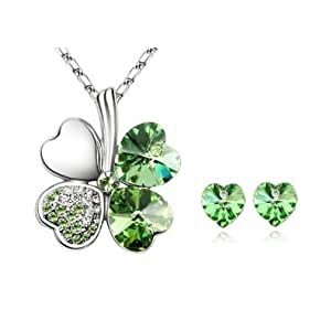 Good Luck Four Leaf Clover Pendant Necklace, Earrings Green Swarovski Heart Shaped Crystals Free Beautiful Gift Box