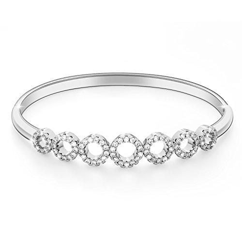 Menton Ezil Love Declaration 18K White Gold Hollow Out Bangle Bracelets CZ Diamonds Women Jewelry Gift For (Diamond Gold Designer Bracelets)