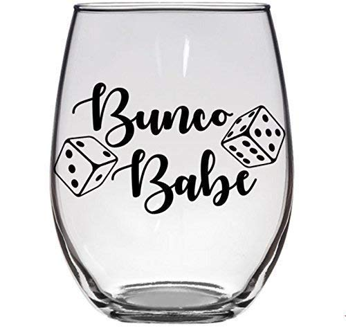 Bunco Babe Wine Glass Gift Prize for Bunco Dice Game Lover Player -