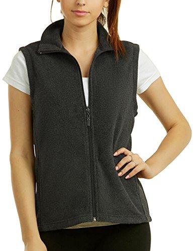 ToBeInStyle Women's Zip Up Sleeveless Polar Fleece Vest (Large, Charcoal Grey) by ToBeInStyle
