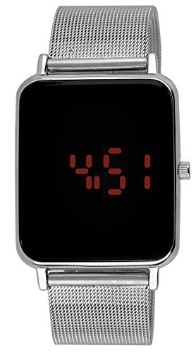 Moulin Unisex Digital One-Touch Mesh Band Silver Watch #3388.75751