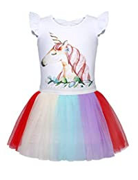 Cotrio Unicorn Tutu Princess Dress Girls Party Pageant Gown Outfits Colorful Tulle Skirt