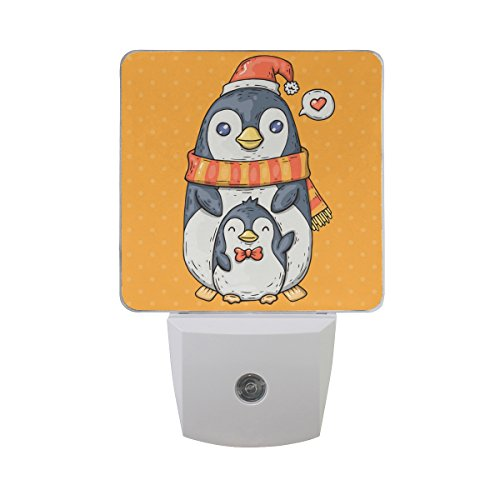 (Naanle Set of 2 Cute Cartoon Penguin With Chick Child Winter Snowflake Orange In Comic Trendy Style Auto Sensor LED Dusk To Dawn Night Light Plug In Indoor for Adults)