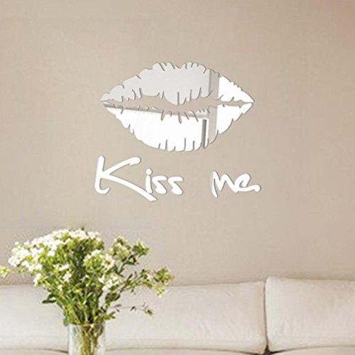 3D Wall Sticker Fheaven 30 Cmx 25 Cm Acrylic Removable Kiss Me Mirror Wall Sticker Decal Art Mural Home Room Decor  Silver