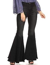 ANNA-KACI Women's Classic Retro High Waist Long Denim Bell Bottom Jeans
