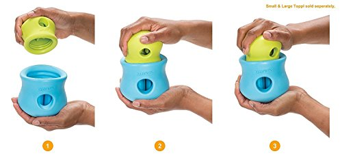 West Paw Zogoflex Toppl Interactive Treat Dispensing Dog Puzzle Play Toy, 100% Guaranteed Tough, It Floats!, Made in USA, Small, Granny Smith by West Paw (Image #3)