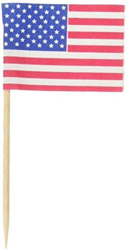 Fox Run 5392 American Flag Party Picks, Pack of 50 (American Flag Cupcake Picks)