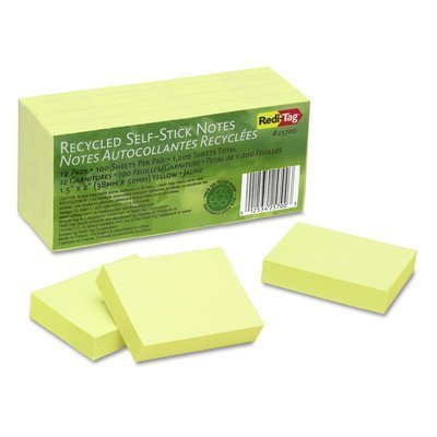 100% Recycled Note, 12 100-Sheet Pads/Pack [Set of 2] Color: Yellow