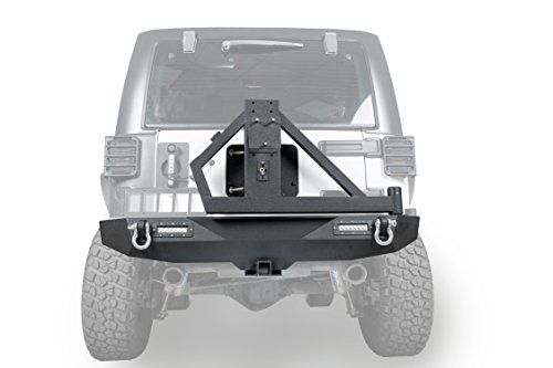 - Hooke Road Different Trail Off Road Rear Bumper w/2 x 18W LED Accent Lights & Spare Tire Rack for 2007-2018 Jeep Wrangler JK & Unlimited