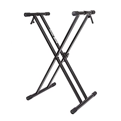 RockJam Xfinity Heavy-Duty, Double-X, Pre-Assembled, Infinitely Adjustable Piano Keyboard Stand with Locking Straps from PDT Ltd - IMPORT (UK Vendor, Product FOB China)