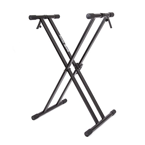 RockJam Xfinity Heavy-Duty, Double-X, Pre-Assembled, Infinitely Adjustable Piano Keyboard Stand with Locking (Locking Positions)