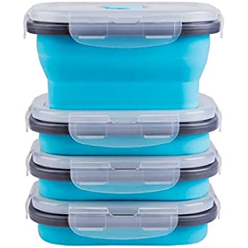Collapsible Food Storage Containers with Airtight Lid and Vent Valve, Stacking Silicone Collapsible Storage Containers for Food, Microwave & Freezer & Dishwasher Safe, Blue, Small, Set of 4