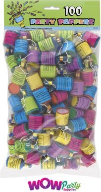 Party Poppers for Birthday Parties / Hen Party , Pack of 100 wow party supplies