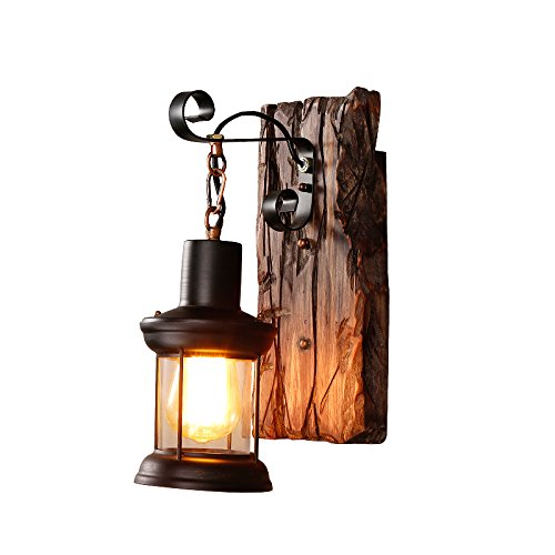 (Lovedima Retro Industrial Cottage Style Metal Clear Glass Lantern 1-Light Wall Light & Wood Backplate)