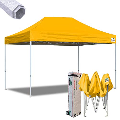 Eurmax 10×15 Ft Premium Ez Pop up Canopy Instant Shelter Outdoor Party Gazebo Commercial grade Bonus Roller bag (Gold) For Sale
