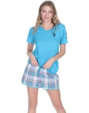 Women's 2 Piece Short Sleeve V-Neck Shirt and Plaid Pajama Shorts Set
