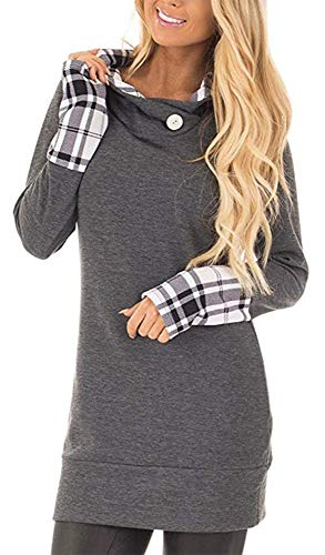 (Yingkis Women's Long Sleeve Plaid Hoodies Tunic Tops Button Cowl Neck Casual Slim Blouse,Deep Grey S)