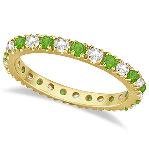 (0.64ct) Diamond and Green Tsavorite Garnet Stone Eternity Stackable Ring Band 14K Yellow Gold