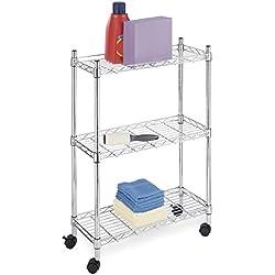 Whitmor Supreme Laundry Cart and Versatile Storage Solution - Chrome