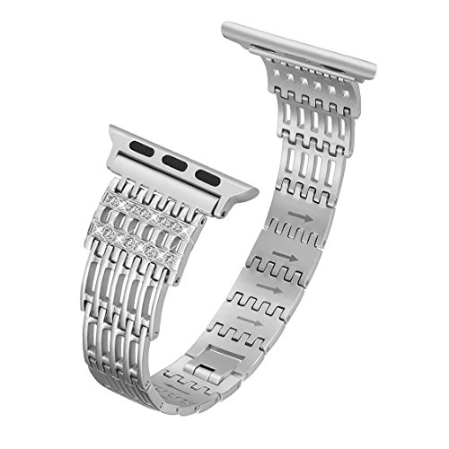 karei for Apple Watch Band Stainless Steel 38mm, 42mm for Women Bling Jewelry Replacement Apple Watch Strap for Series 3, Series 2, Series 1, Sport, Nike+ Edition, 4 Colors Available