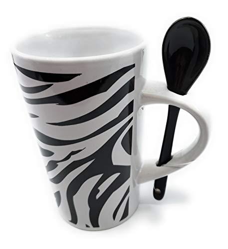 Animal Print China Latte Mug with Matching Spoon 16 oz (Zebra Stripes) (Giraffe Mug Print)