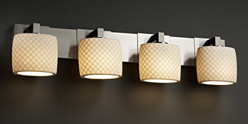 Justice Design Group Limoges 4-Light Bath Bar - Brushed Nickel Finish with Checkerboard Translucent Porcelain Shade