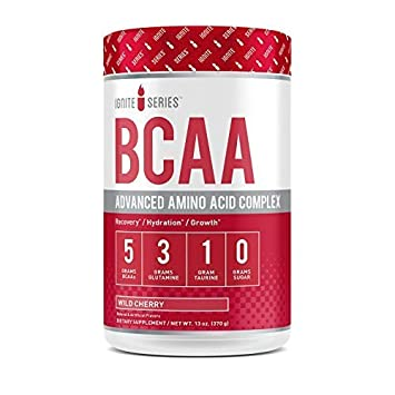 Complete Nutrition Ignite Series BCAA Advanced Amino Acid Complex, Wild Cherry, Supports Muscle Recovery, Hydration Growth, 5g BCAA, 3g Glutamine, 13 oz Tub 30 Servings