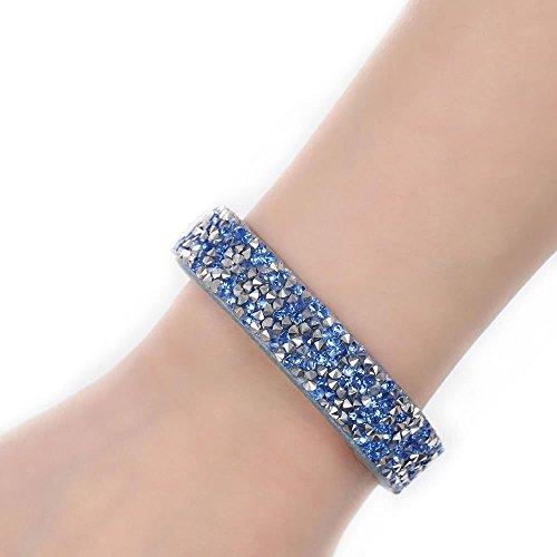 (SEXY SPARKLES Suede Velvet Slake Bracelet with Rhinestones (Gray/Blue))