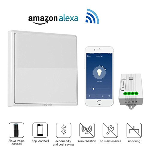 KOBWA Wireless Lights Switch Kit, No Battery No Wiring, Lights Switch Receiver with Self-Powered Dimmer Switch Remote Control House Lighting Appliances, Compatible with Alexa