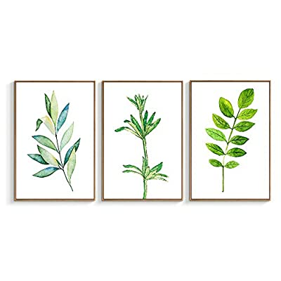 Beautiful Design, Professional Creation, Framed for Living Room Bedroom Beautiful Leaves for x3 Panels
