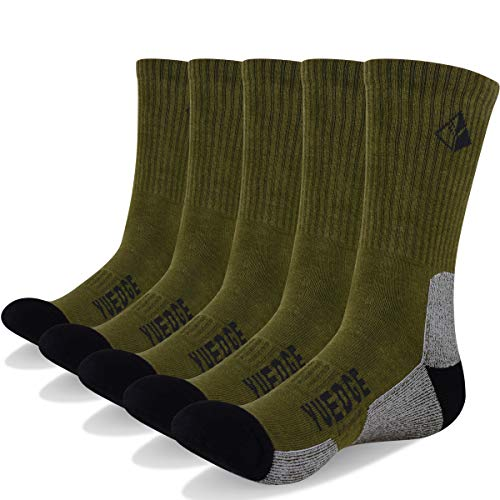 YUEDGE 5 Pairs Men's Moisture Control Multi Performance Athletic Running Hiking Breathable Tab Socks, Olive Green, XL(Men Shoe 9.5-12 US Size)