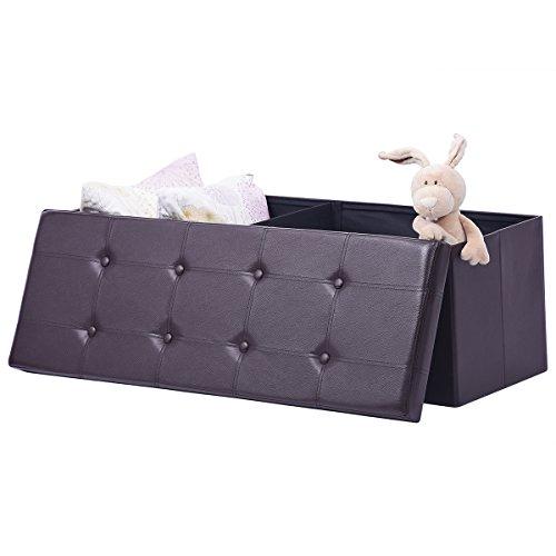 AuAg  XL Faux Leather Folding Storage Ottoman Bench Storage Chest Padded, Brown
