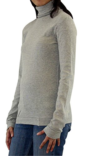 (Maks Ladies Supersoft Long Sleeve Top Turtleneck (X-Small,Heather Gray) )