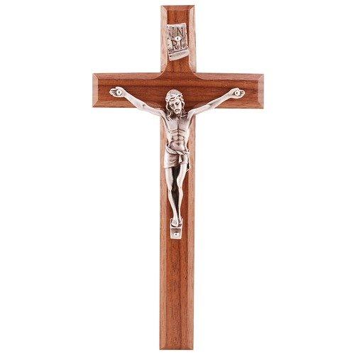 8 Inch Beveled Walnut Crucifix Home Religious Wall D?cor Christian Catholic Cross ()