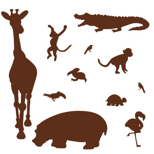 RoomMates RMK1324SLG Brown Animal Silhouettes Peel & Stick Wall Decal MegaPack