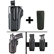 "BlackHawk Omnivore Level 2 Active Retention Multi Fit Non Light Bearing Pistol Gun Handgun Left Hand Holster Fits Walther PPQ M2, 9mm, 4"" + Ultimate Arms Magazine Mag Pouch Holder, Black"