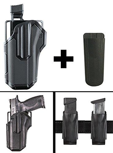 "Semi 9mm Automatic Finish Black (BlackHawk Omnivore Level 2 Active Retention Multi Fit Non Light Bearing Pistol Gun Handgun Left Holster Fits Springfield XD-9 MOD 2 SERVICE MODEL, 9mm, 4"" + Ultimate Arms Magazine Holder, Black)"