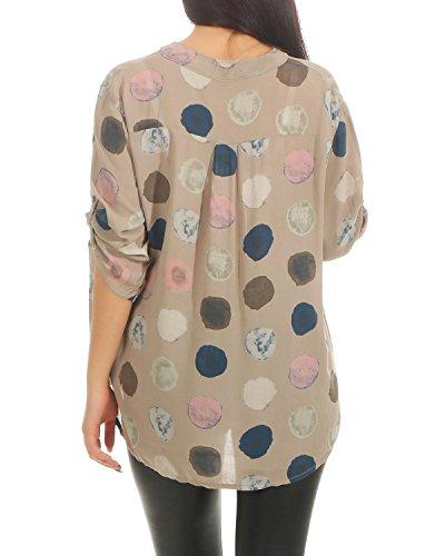 t Chemisier Coton Dots Chemise Imprimer Lache Femmes Manches Blouse Cappuccino Courtes Fit Lger Tunique des ZARMEXX 1d47qwzxtt