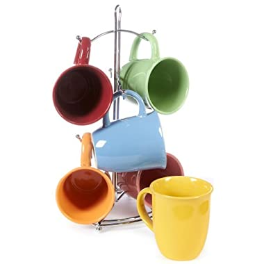 Color Curve Mug with Metal Rack (Assorted) by Gibson Overseas