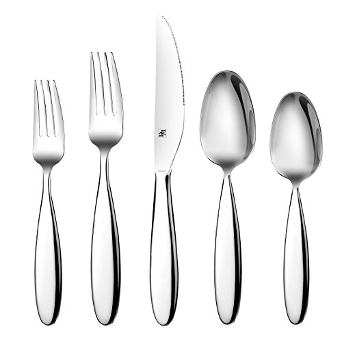 D&M 02508 20-Piece Flatware Set, 18/10 Stainless Steel Mirror Polish Silverware Service for 4