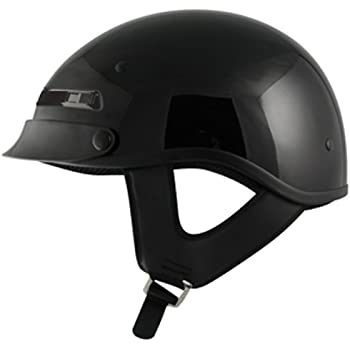 Glossy Black, Medium HLD1002  BLACK Hot Leathers Classic DOT Approved Helmet